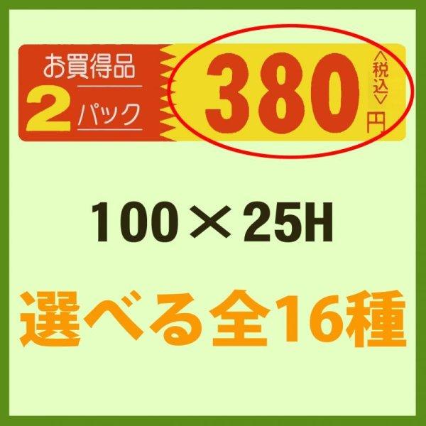 画像1: 業務用販促シール 既製品「お買い得品 2パック__円 全16種類」100x25mm「1冊500枚」 《区分A》 (1)